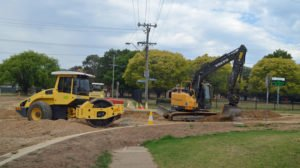 Machinery is on the site of a new rounabout