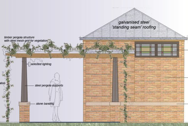 A side view of the proposed new toilet block for Roberston Park shows a pergola covered in plants.