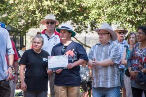 Image of local residents receiving an award at an Australia Day celebration at Cook Park in Orange