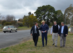Mayor Reg Kidd, Member for Calare Andrew Gee, Acting General Manager Ian Greenham and Cr Sam Romano welcome funding for the southern feeder road