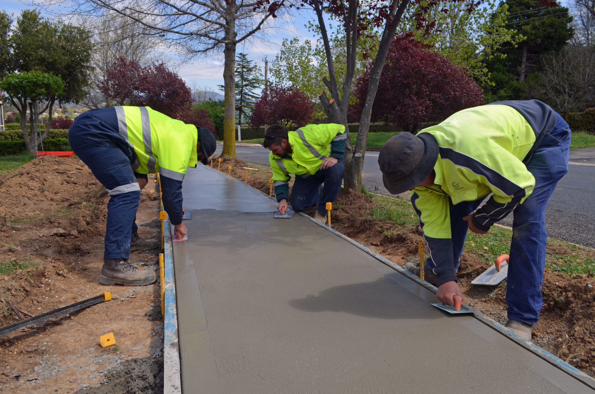 Council crews build new concrete footpath