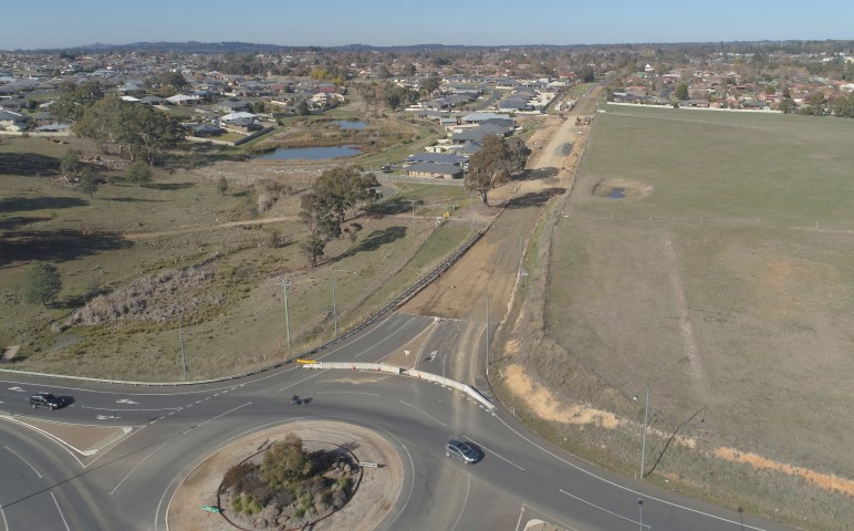 Aerial view of road building project in Burrendong Way, Orange