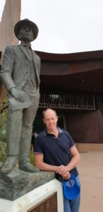 Paul Clarke with Banjo at the Waltzing Matilda Centre, Winton - Short Story Winner