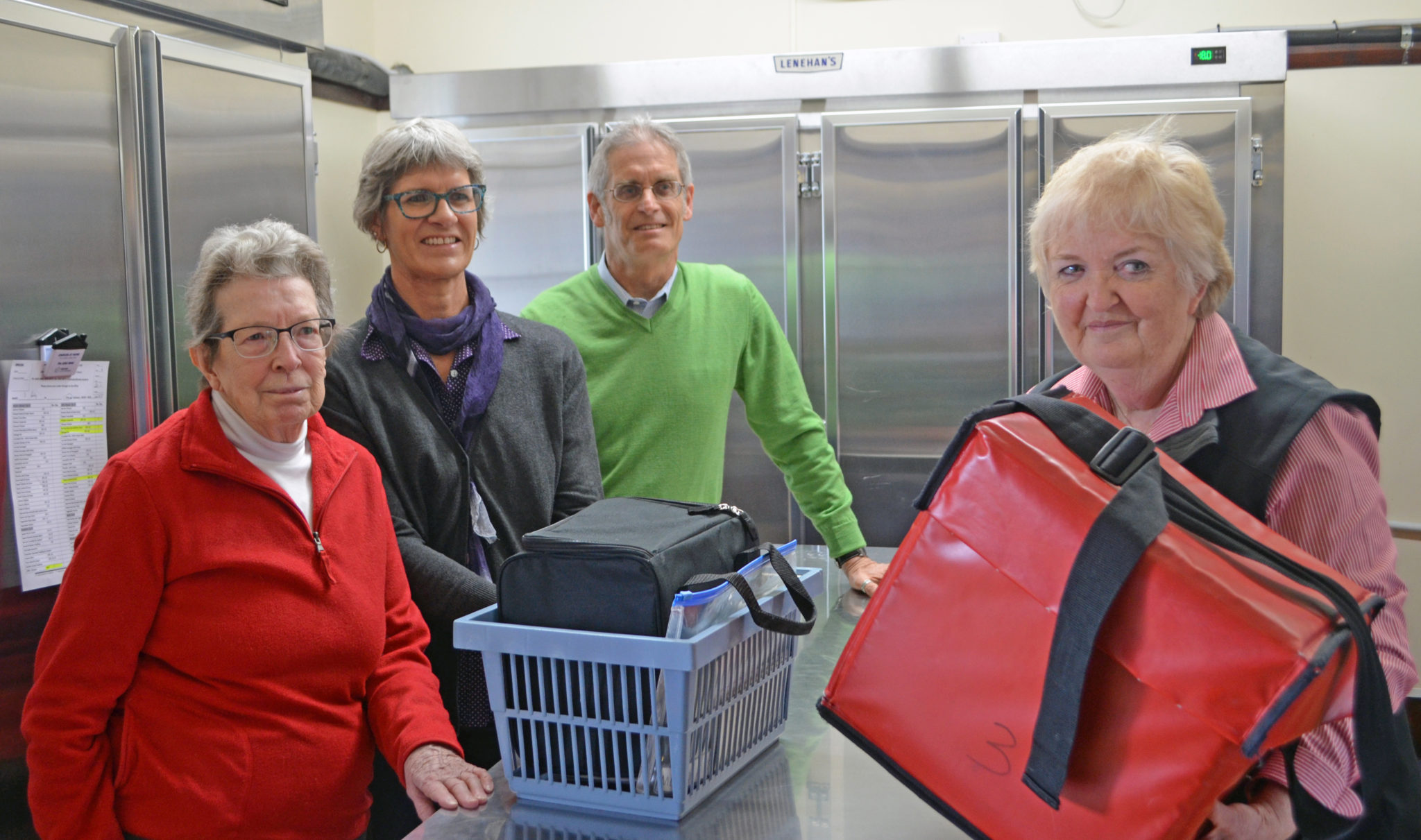 Client Anne, with volunteer Kathryn, Cr Stephen Nugent and Council employee Sheryl Jenkins