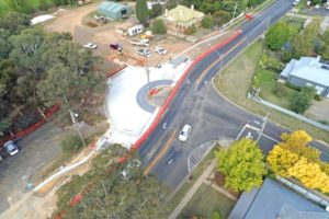 Aerial picture of the Woodward Street roundabout during construction