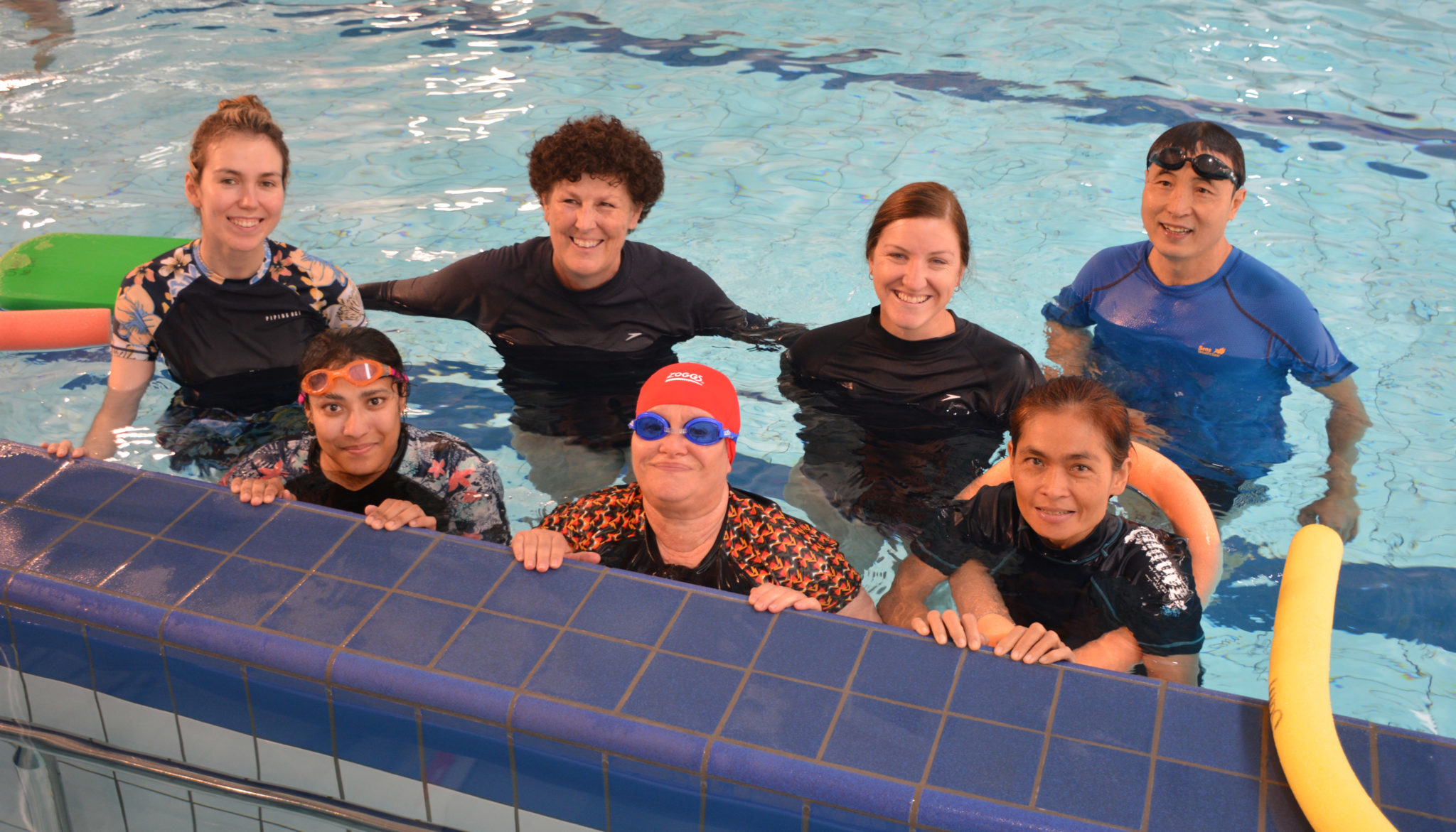 Adults at the Orange Aquatic Centre learning to swim
