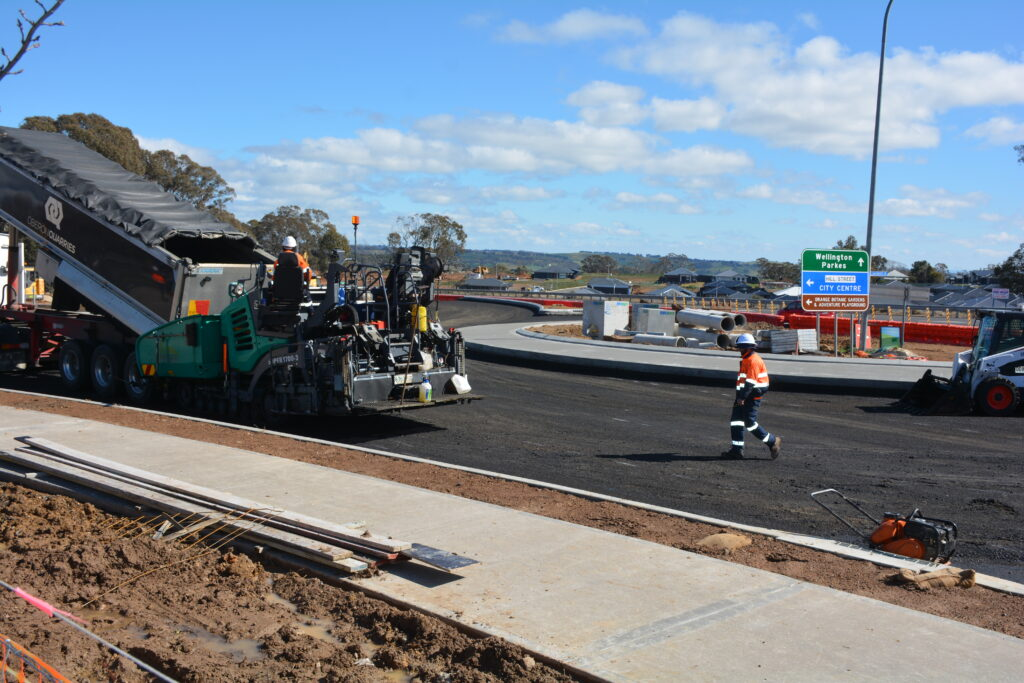 Conbtractors at the new roundabout