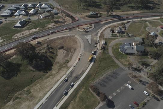 Drone picture of new road realignment and roundabout