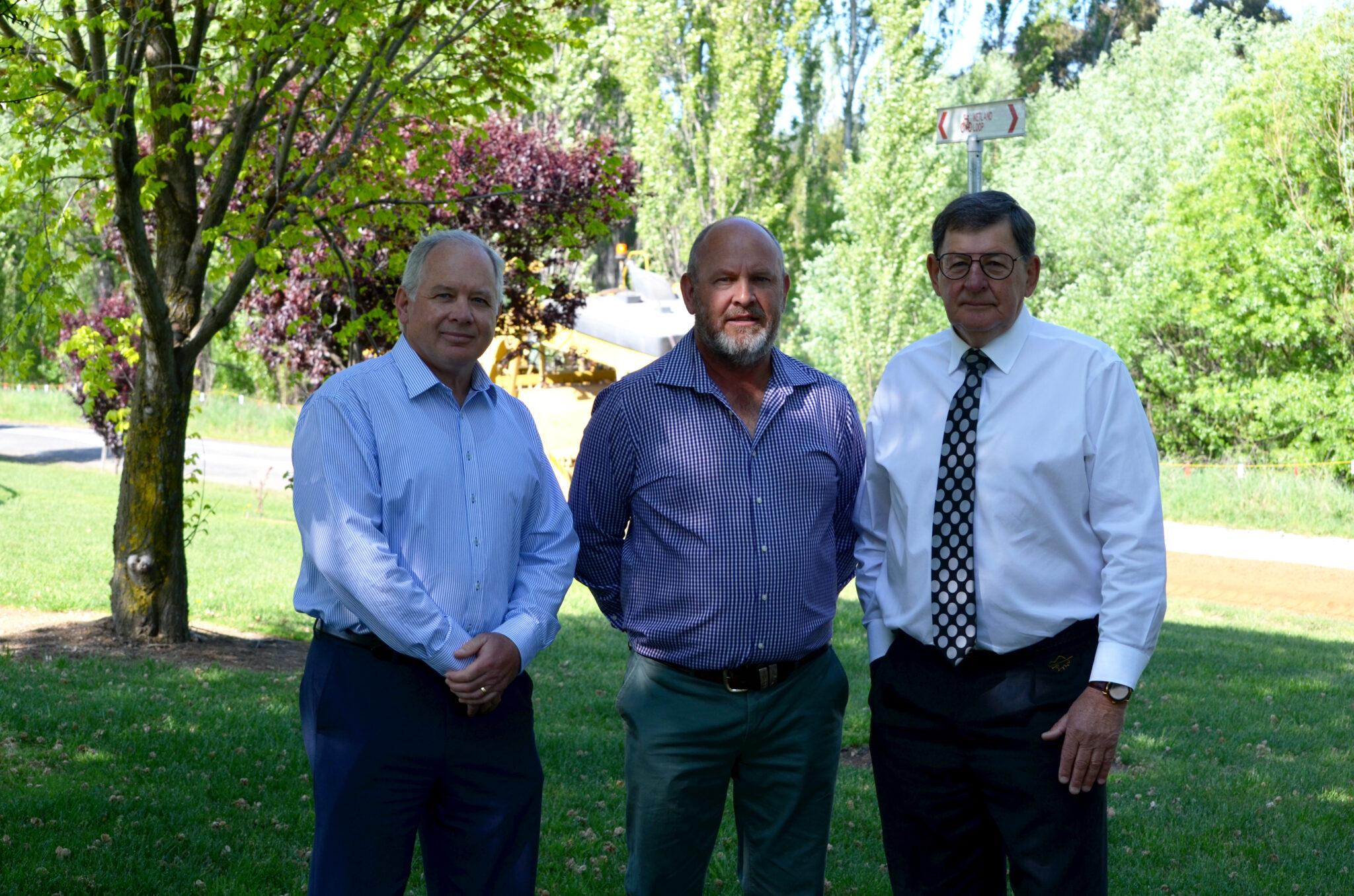 Cr Jeff Whitton, Cr Jason Hamling and Cr Reg Kidd check out the roadworks at Ploughmans Lane.