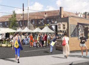 Montage of markets in McNamara Street