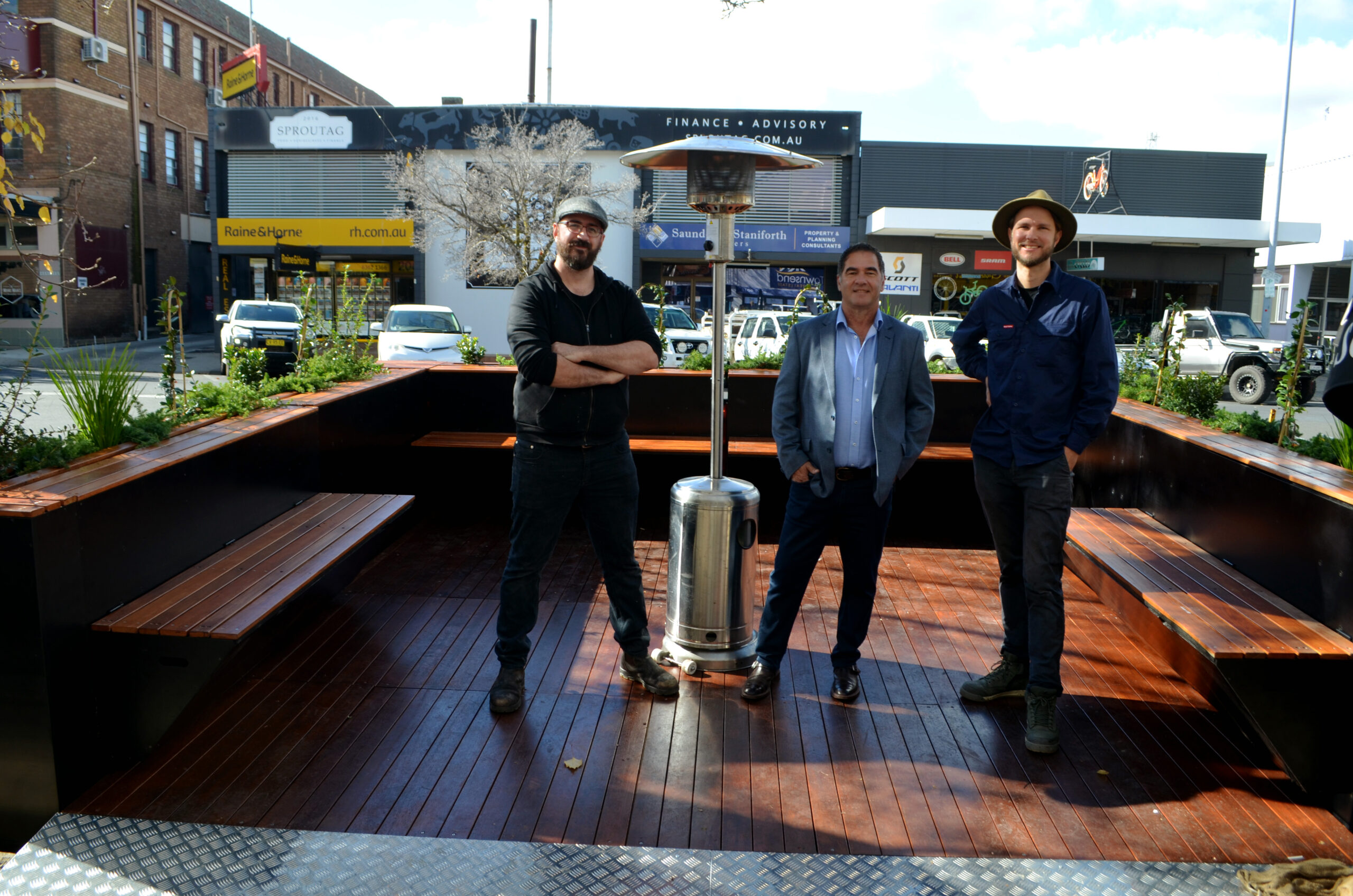 People Parkers' Iain Porterfield and Kris Spann with Cr Tony Mileto