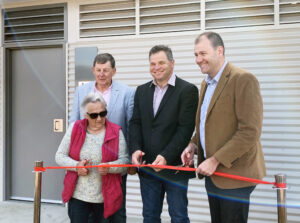 Cr Reg Kidd, member for Orange Phil Donato and Sam Faraway MLC with Button Dunn open the new amenities at the Naylor Pavilion.