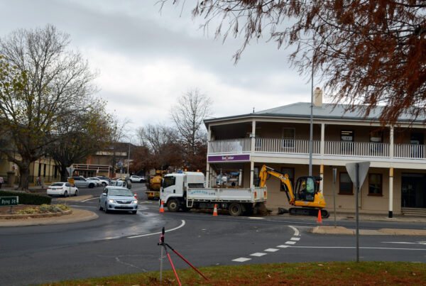 The water crew begin work on a new water main in Byng Street